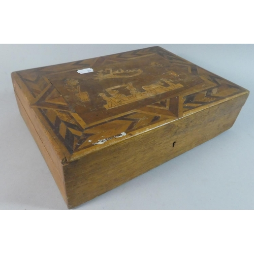 10 - A Continental Inlaid Sewing Box with Contents Inscribed Madeira, 29cm Wide...
