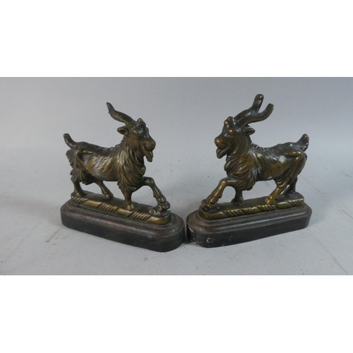 17 - A Pair of Victorian Bronze Novelty Doorstops in the Form of Goats, One with Horn AF, Each 15cm Long...