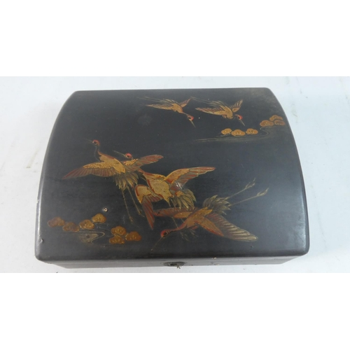 29 - An Oriental Dome Topped Lacquered Work Box Decorated with Cranes in Flight, 17.5cm Wide...