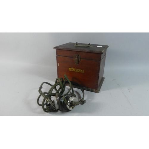 36 - An Edwardian Mahogany Gecophone Box Containing Vintage Headset...