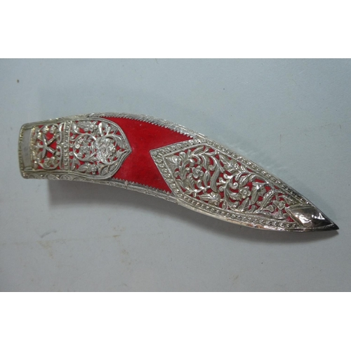 22 - A Souvenir Kukri Knife with Daggers, in Silver Plate Mounted Scabbard...