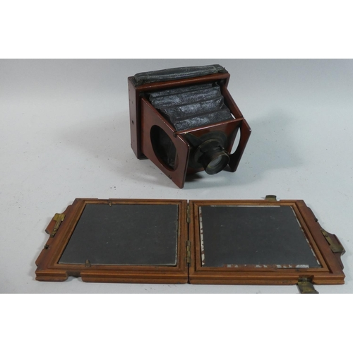 23 - A 19th Century Mahogany Cased Folding Plate Camera, The Eclipse Apparatus No.4102 Newman Street, Lon...