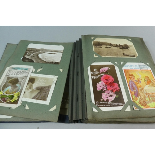 51 - An Early 20th Century Postcard Album and Contents Together with a Collection of Later 20th Century L...