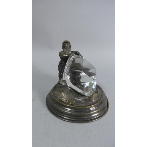 28 - A Novelty Desktop Paperweight in the Form of Dwarf Holding Giant Glass Diamond, Silver Plated Base, ...