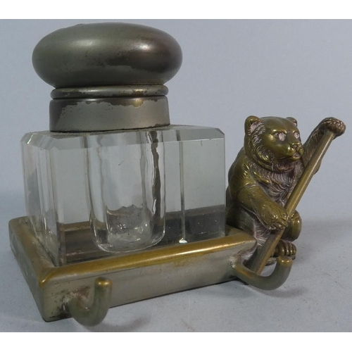 3 - A Novelty Brass Desk Top Inkwell with Bear Holding Staff, 7cm high...