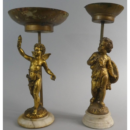 31 - A Pair of Gilt Figural Stands in the Form of Cherubs, 36cm High...
