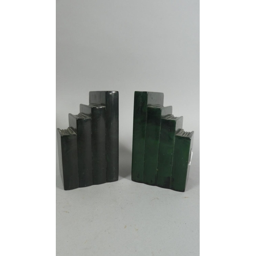 37 - A Pair of Malachite Effect Bookends in the Form of a Row of Books, 13cm High...