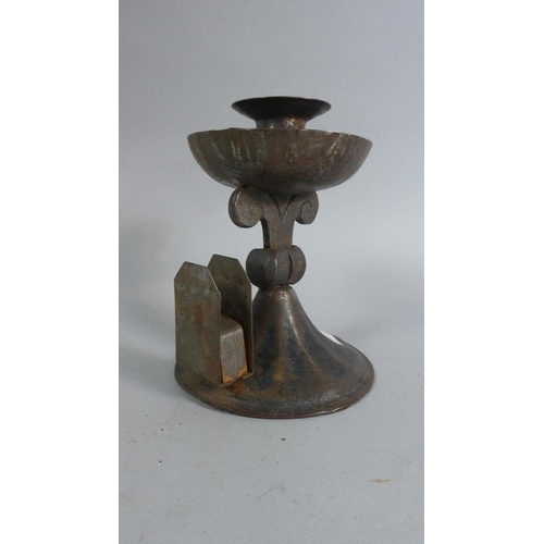 38 - A Metal Arts and and Crafts Influenced Candle Stick with Matchbox Holder, 15cm High...