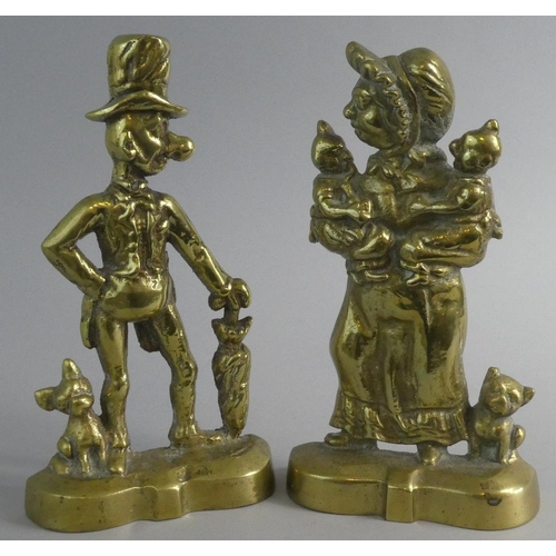 41 - A Pair of Cast Brass Doorstops in the Form of Gent with Walking Stick and Lady Holding Twins, 28.5cm...