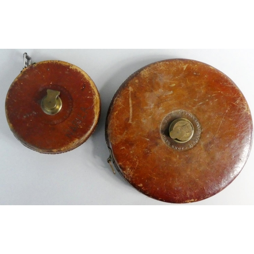 42 - Two Vintage Leather Cased Tape Measures By Rabone, 100ft and 200ft...