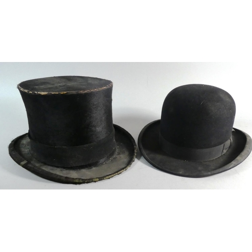 50 - A Silk Top Hat by Lincoln Bennett, Distressed and a Bowler Hat...