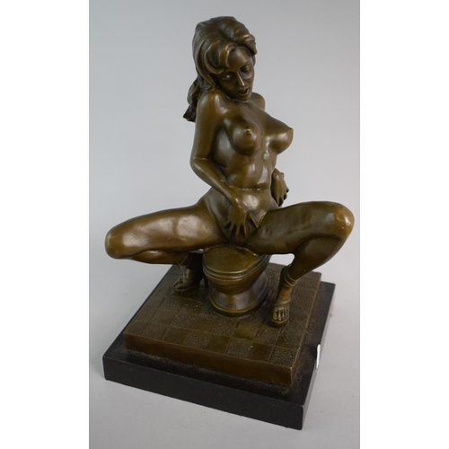 52 - A Late 20th Century Erotic Bronze on Polished Granite Base, 32cm High...