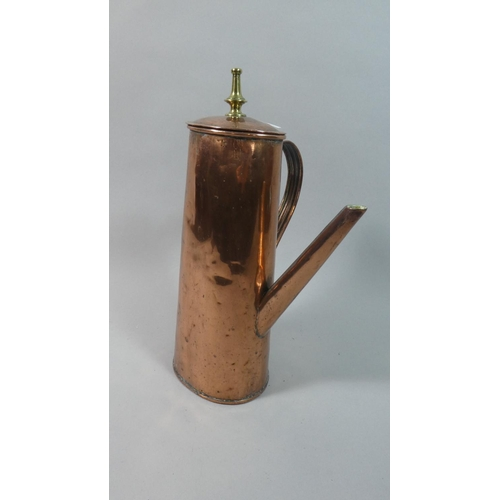 30 - A 19th Century Copper Chocolate Pot with Brass Finial, 33cm High...