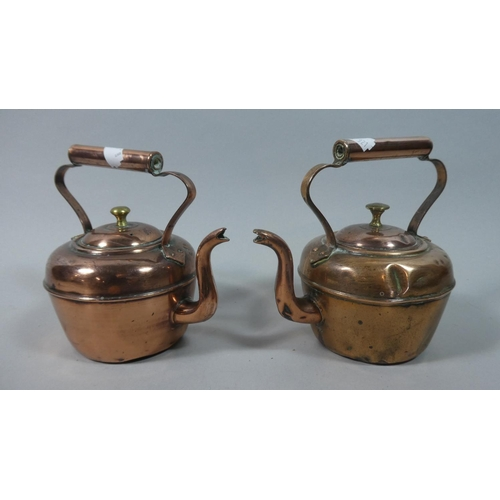 48 - A Near Pair of 19th Century Small Copper Kettles, The Tallest 15cm High...