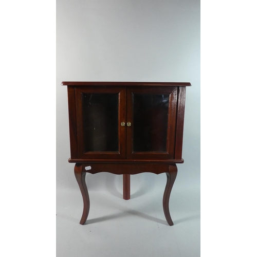 51 - A Modern Mahogany Glazed Corner Cabinet on Cabriole Supports, 49cm Wide...