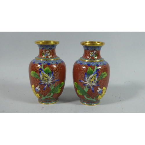 8 - A Pair of Small Oriental Cloisonne Enamel Vases with Floral Decoration, 10.5cm High...