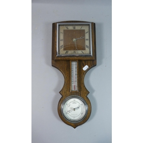 56 - An Art Deco Oak Wall Hanging Weather Station with Clock, Aneroid Barometer and Thermometer, Clock Mo...