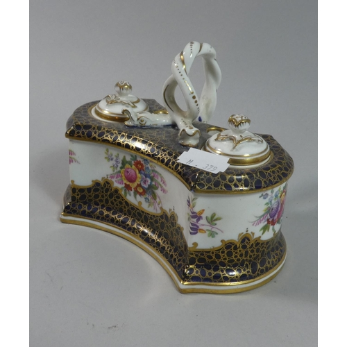 11 - A Pretty Crown Staffordshire Pen and Ink Stand with Floral, Cobalt Blue and Gilt Decoration, Entwine...