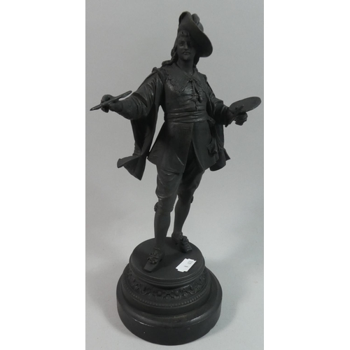 18 - A Patinated Spelter Figure of Artist with Easel, 32cms High...