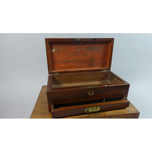 3 - A 19th Century Mahogany Campaign Box with Inset Brass Drawer Handle together with a Walnut Work Box,...