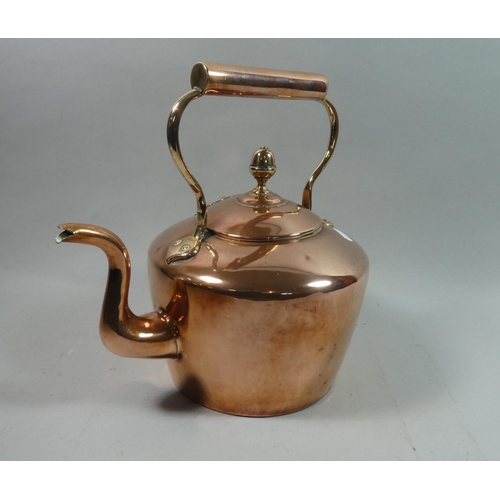 60 - A Large Good Quality Victorian Copper Kettle with Hinged Lid, 32cms High...