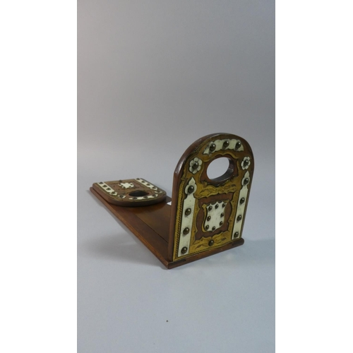 1 - A Late Victorian Brass Mounted Mahogany Book Slide with Hinged Ends, 33cm Wide When Closed...