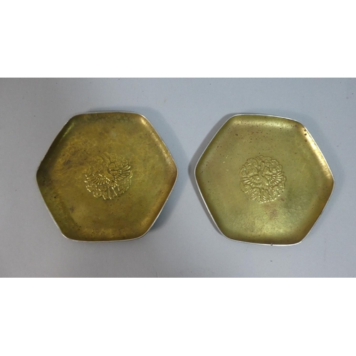 10 - A Pair of Pressed Metal Hexagonal Dishes with Stork Decoration, 15cm Diameter...