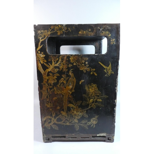 11 - An Early Chinese Lacquered Cabinet with Gilt Decoration Depicting Mountain Scenes, Birds and Flowers...