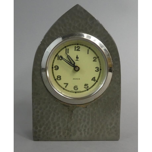 12 - A Mid 20th Century Pewter Cased Lancet Mantle Clock by Anker, 12cm High, Working Order...