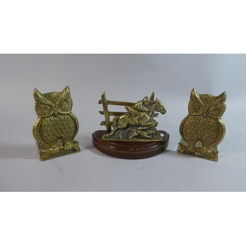 16 - A Pair of Cast Brass Bookends in the Form of Horned Owls , 14cm high, Together with a Brass Statione...