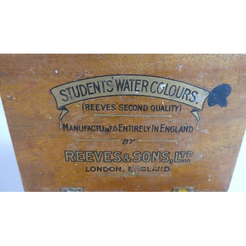 17 - A Small Students Watercolour Box by Reeves to Include Paints, Palette, 15.5cm Wide...