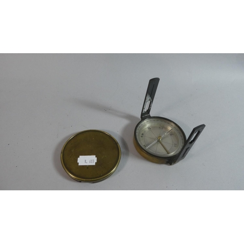 18 - A 19th Century Circular Brass Surveying Compass by Casatelli, Manchester...