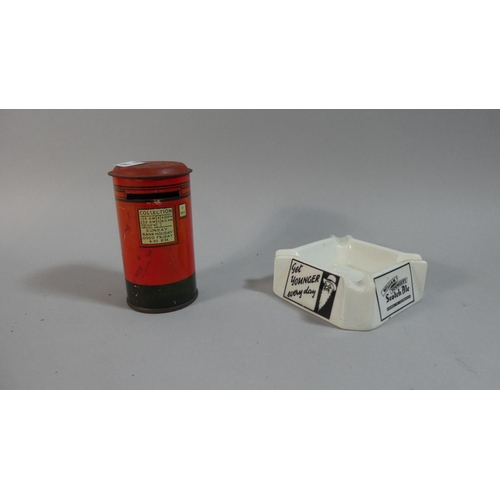 21 - A Child's Saving Tin in the Form of a Postbox Together with a Royal Doulton Ceramic Ashtray for Will...