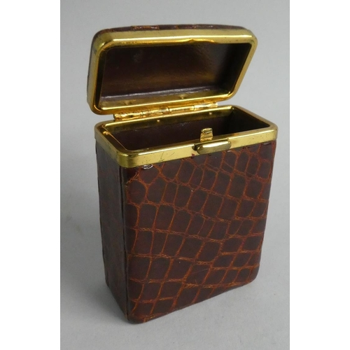 22 - A Ladies Crocodile Skin Cigarette Box, 8cm High...