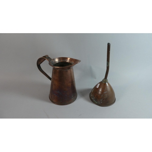 28 - A 19th Century Copper Jug and a Copper Beer Funnel...