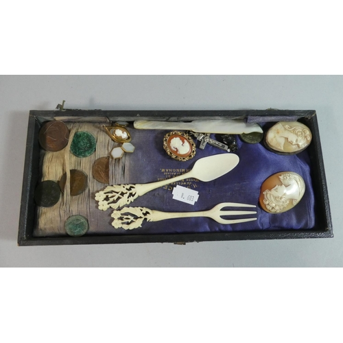 40 - A Small Collection of Curios to Include Coins, Cameos, Brooches, Costume Jewellery etc...