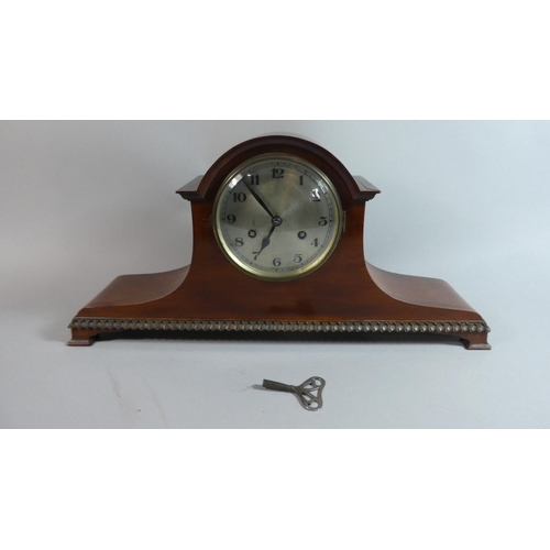 45 - An Edwardian Mahogany Napoleon Hat Mantle Clock, Movement Working Intermittently. 53cm Wide...