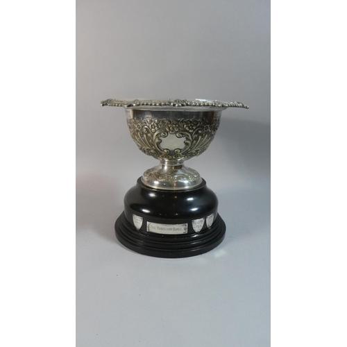 49 - A Silver Plated Rose Bowl Trophy on Ebonised Circular Base, The Robinson Bowl C.1955, 19.5cm Diamete...