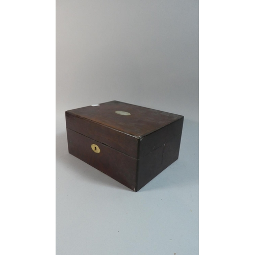 5 - A Late 19th Century Rosewood Ladies Work Box with Inner Removable Tray, 25cm Wide...