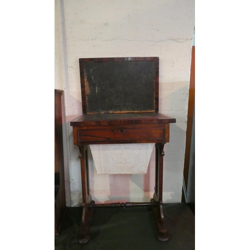 53 - A Regency Rosewood Ladies Work Table Having Hinged Tooled Leather Work Top, Drawer and Pull Out Well...