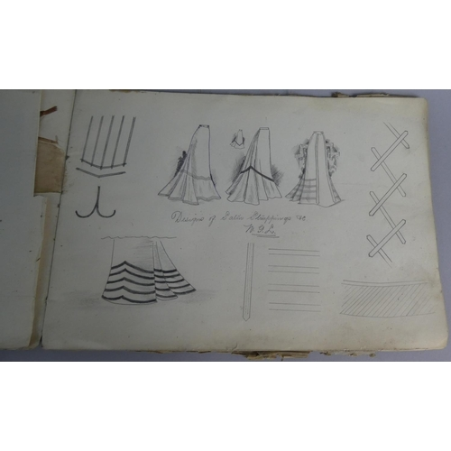 54 - An Edwardian Drawing Book Containing Fashion Sketches, Watercolors etc...