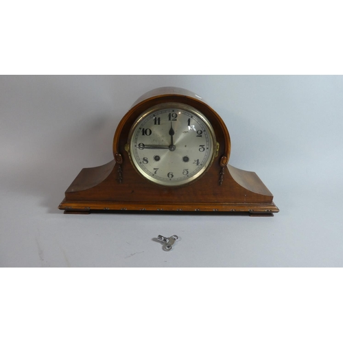55 - An Edwardian Mahogany Cased Mantle Clock, 43cm Wide, Movement in Need of Attention...