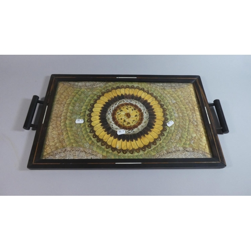 57 - A Rectangular Two Handled Butterfly Wing Tray, Probably Brazilian, 54cm x 34cm...