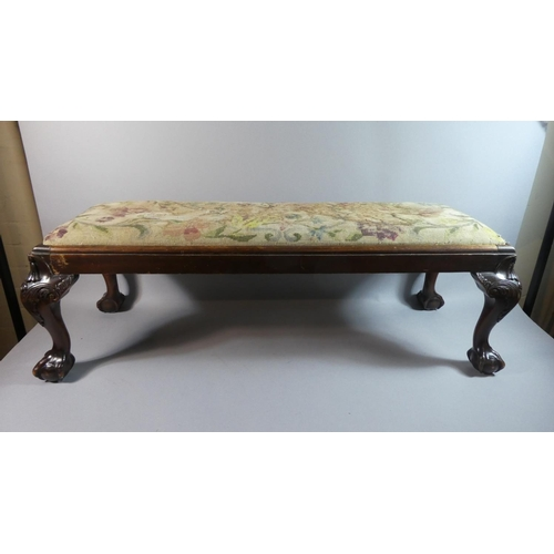 58 - A Mid 20th Century Tapestry Topped Mahogany Framed Duet Stool with Short Cabriole Supports Culminati...