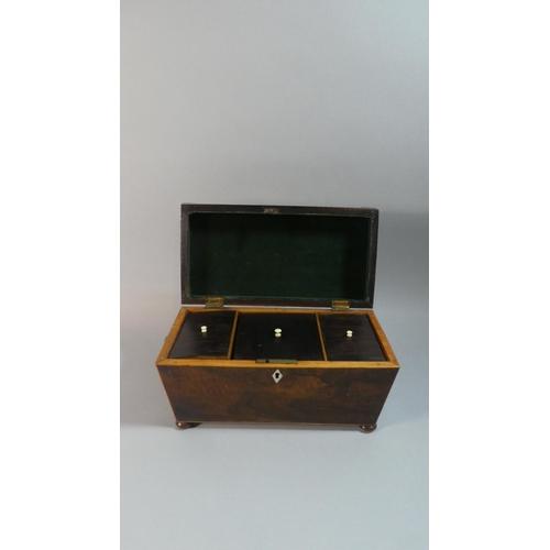 6 - A Mid 19th Century Rosewood Sarcophagus Shaped Tea Caddy on Bun Feet, 30.5cm Wide...