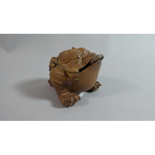 8 - A Chinese Terracotta Feng Shui Money Frog Also Know as the Three Legged Toad, Impressed Mark Under, ...