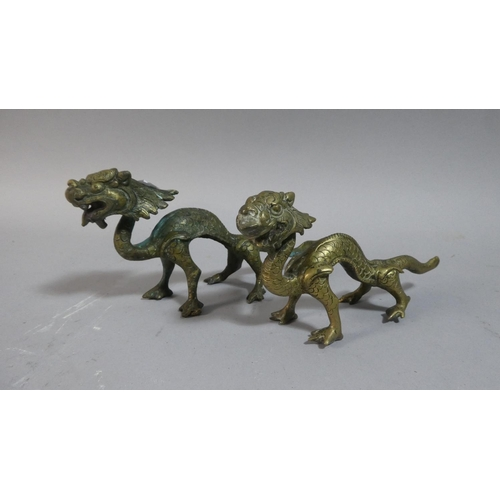9 - Two Chinese Low Grade Bronze Studies of Dragons, 18cm Long...