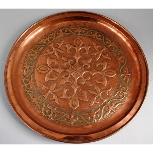 12 - A Keswick School of Arts Circular Copper Charger Decorated with Fleur De Lys Design, Stamped with Ke...