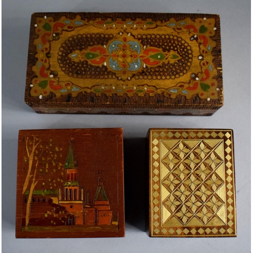 13 - Three Continental Wooden Boxes One Containing Russian Medallion...