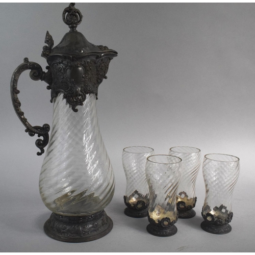 2 - A Large Art Nouveau Pewter Mounted Glass Claret Jug by WMF Together with Four Matching Tumblers, Jug...